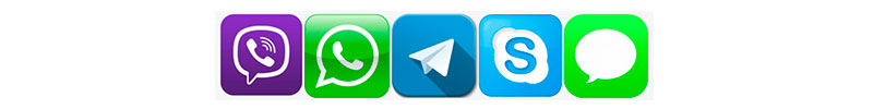 Viber, What's App, Telegram, Skype, Sms